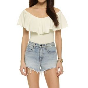 Free People like new ivory off shoulder top Small